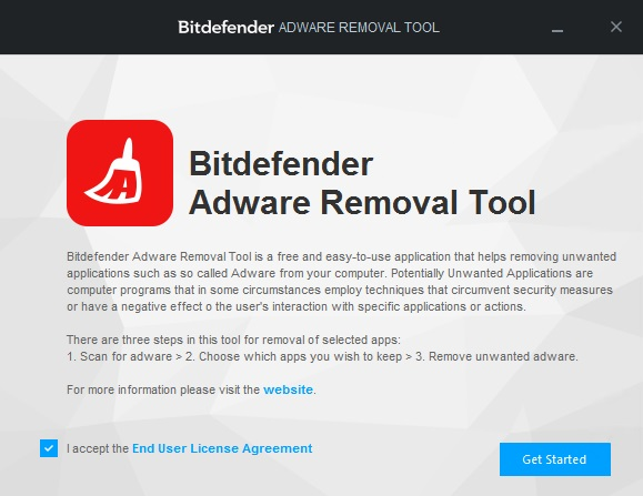 Bitdefender adware removal tool interface