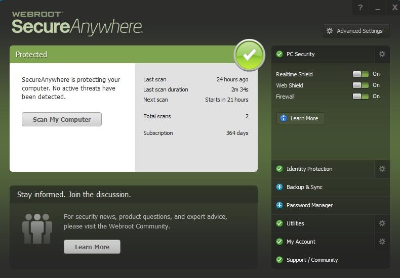 webroot antivirus dashboard