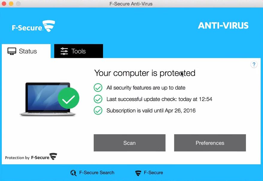 startscherm fsecure antivirus