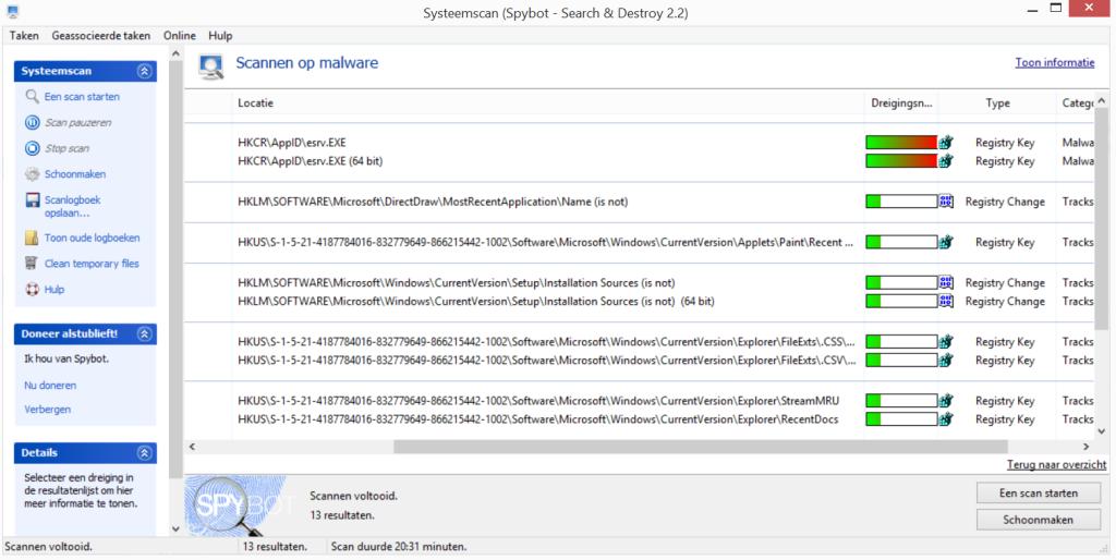 Malware detecties gevonden met spybot search and destroy + av