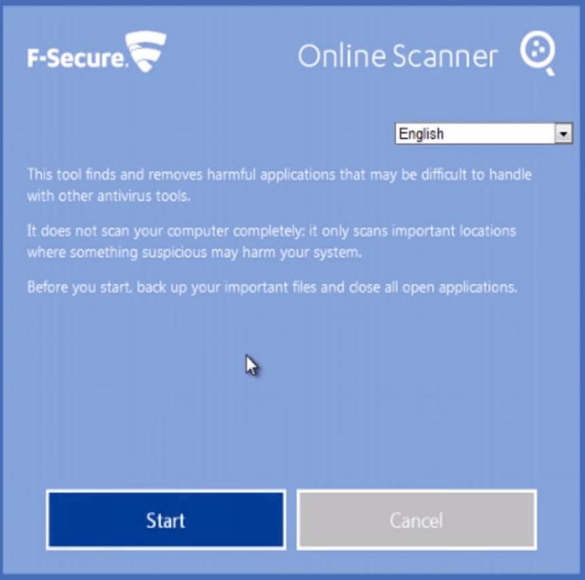 start scherm fsecure online antivirus