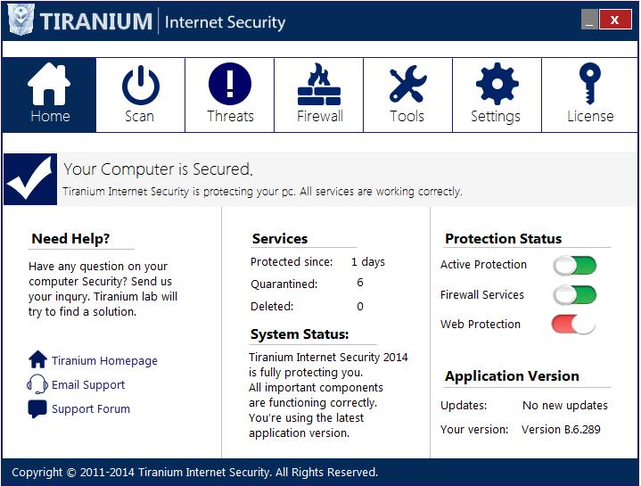 bedieningspaneel tirantium internet security